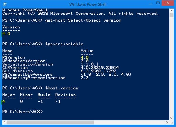 which version of powershell features
