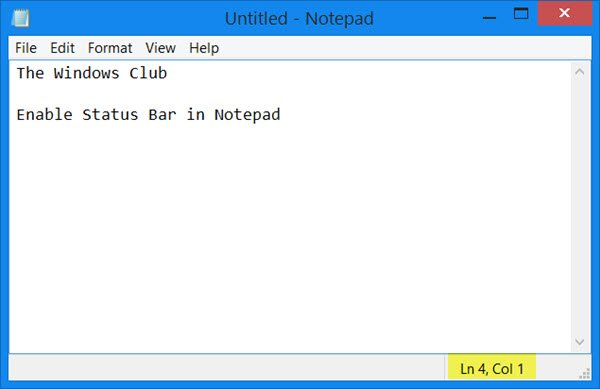 Enable Status Bar in Notepad
