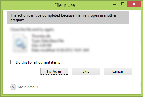 The action can't be completed because the file is open in another program