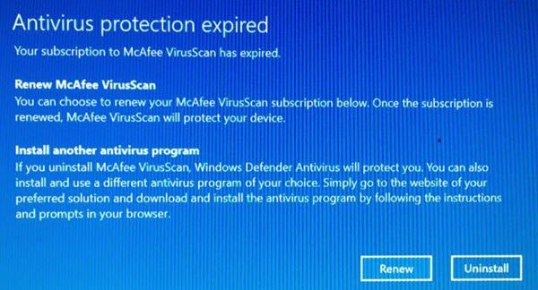 antivirus protection expired