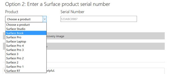 Recovery Image for Surface devices