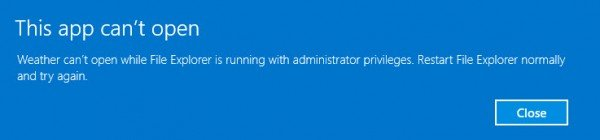 This app can't open while File Explorer is running with administrator privileges