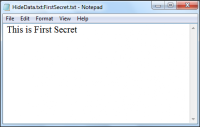 Enter Data to be hidden in a text file of Windows 7