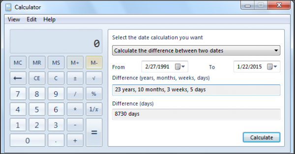 Perform Date calculations Windows Calculator