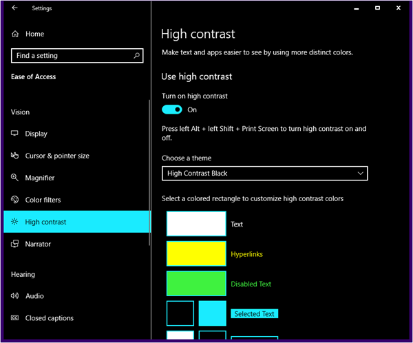 High contrast themes in Windows 10