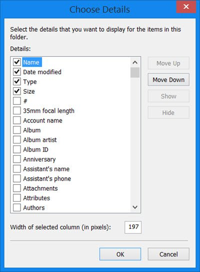 Add columns to all folders in Windows 10 Explorer