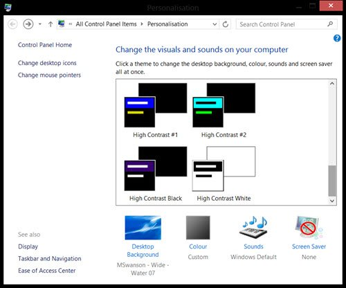 high contrast themes windows