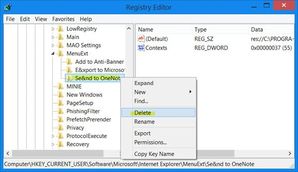 remove send to onenote internet explorer