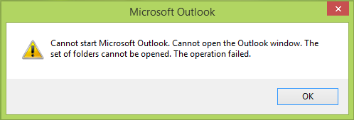 Cannot start Microsoft Outlook, Cannot open the Outlook window