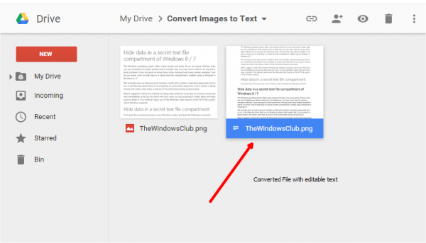 Convert images to text using Google Drive