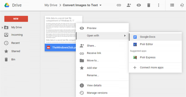 Convert Image to Text using Google Drive