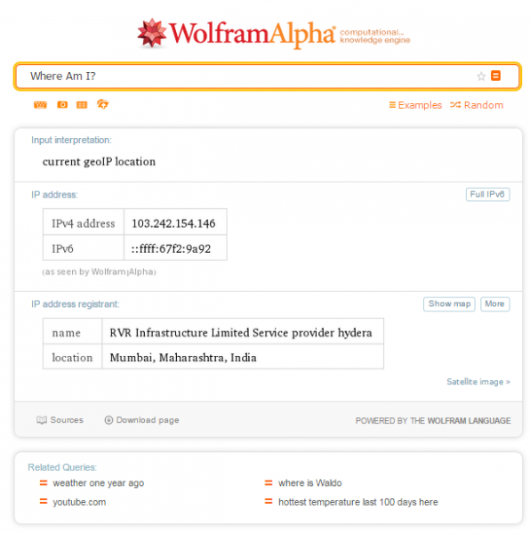 IP Address Wolfram Alpha