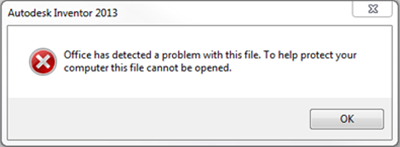 Office has detected a problem with this file