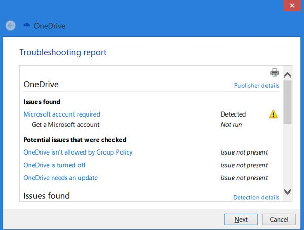 OneDrive troubleshooter