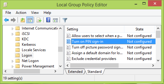 Turn on & enable PIN sign-in for Domain users