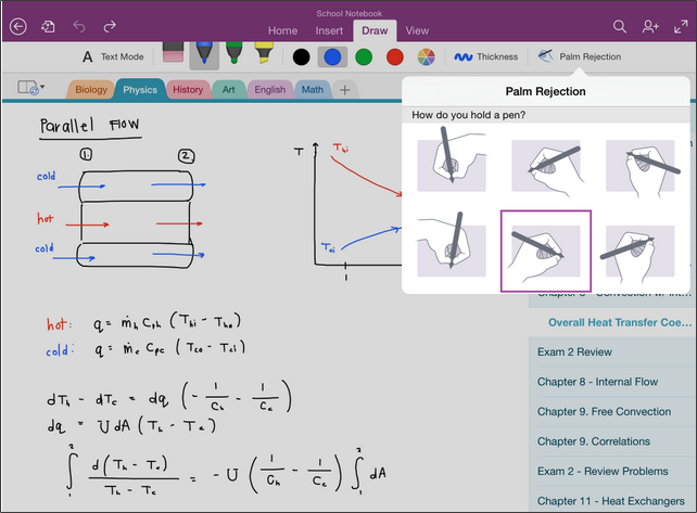 Handwriting and OCR features of OneNote in iPad