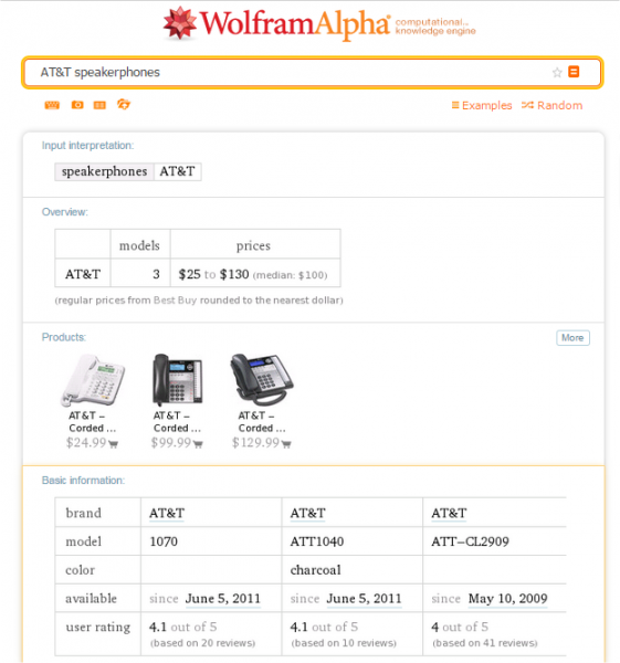 Shopping Information Wolfram Alpha