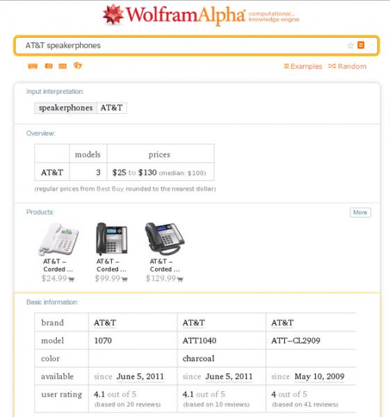 Shopping Information Wolfram Alpha