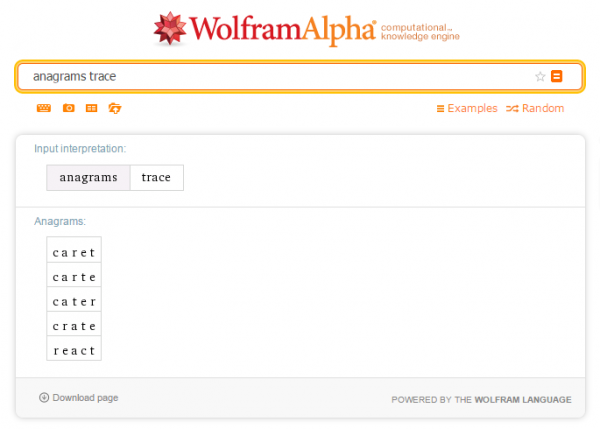 Find words wolfram alpha