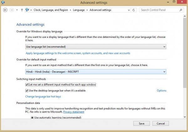 advanced language settings