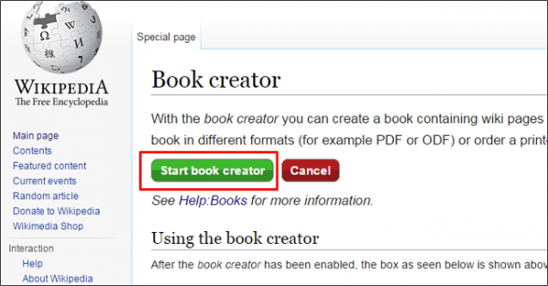 start book creator in Wikipedia