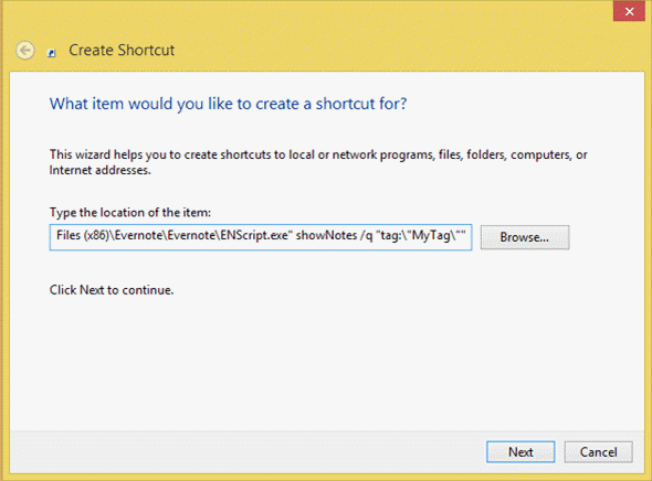 Create desktop shortcut for Evernote tag
