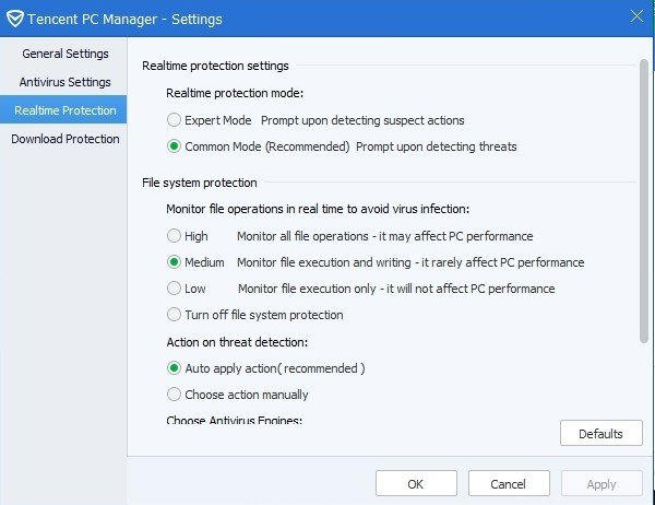 Tencent PC Manager Settings 3