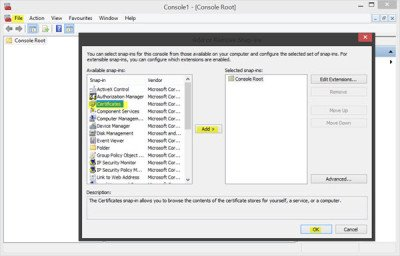 Manage Trusted Root Certificates in Windows