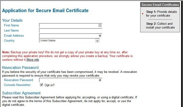 Fig 3 - Application for free digital email certificate