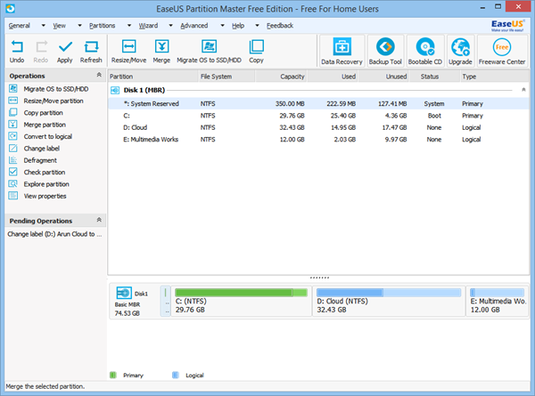 EaseUs Partition Manager Free