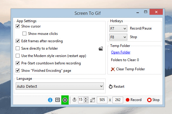 ScreentoGif settings