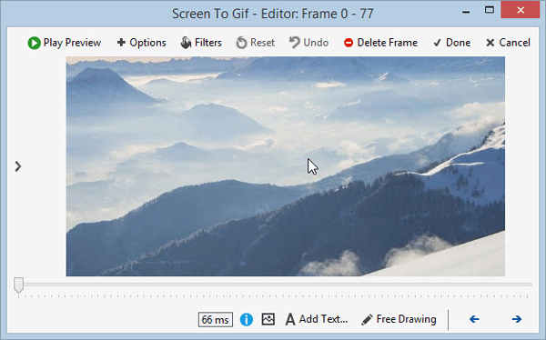 Screentogif window after recording