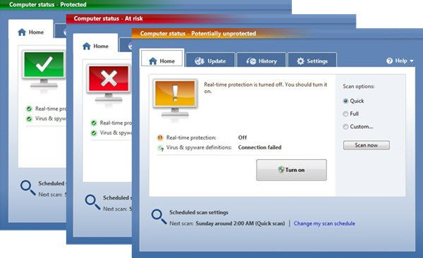 Windows Defender PC status Potentially unprotected 1