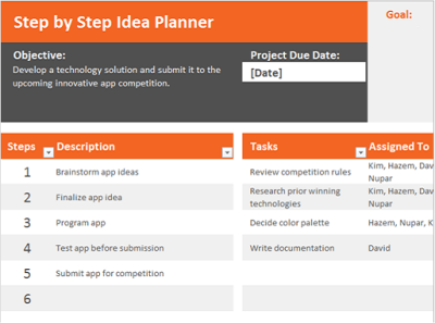 Idea Planner Excel Template
