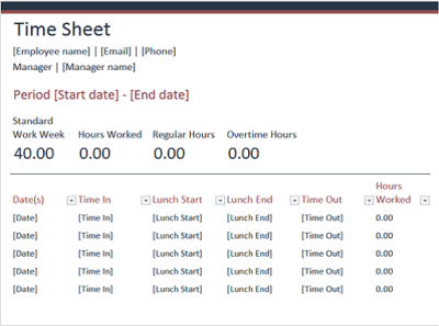 Time Sheet Excel Template