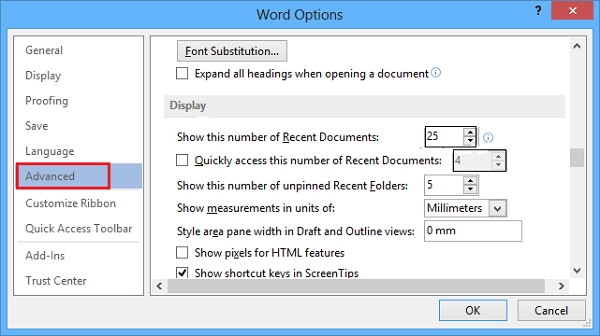 Enable Shortcut Keys in ScreenTips in Word