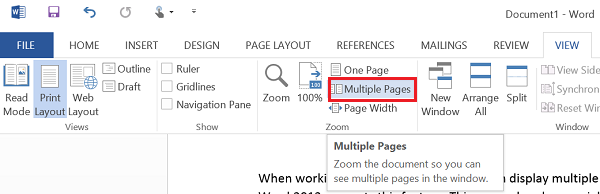 View multiple pages in Word