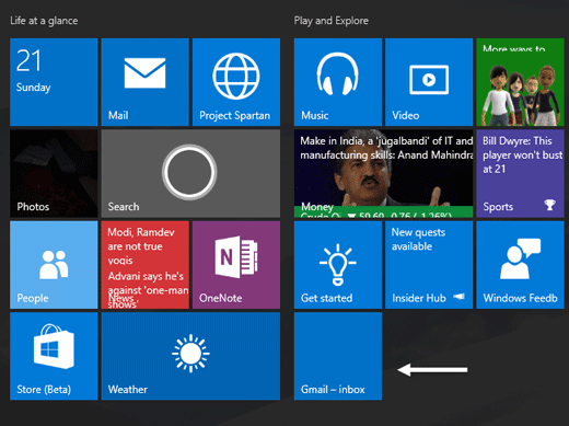 Add Multiple Live Tiles for Multiple Email Accounts in Windows 10