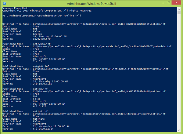 How to get Windows Installed Driver list using PowerShell