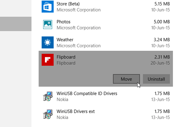 Move Windows 10 Apps to other Drive