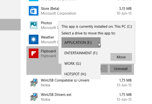 Move Windows 10 Apps to Other Drive-3