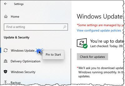 Pin Windows Update to Windows 10 Taskbar