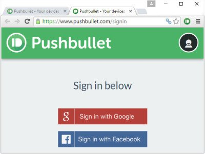Sign up to PushBullet
