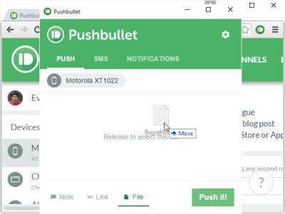 Drag and Drop in PushBullet