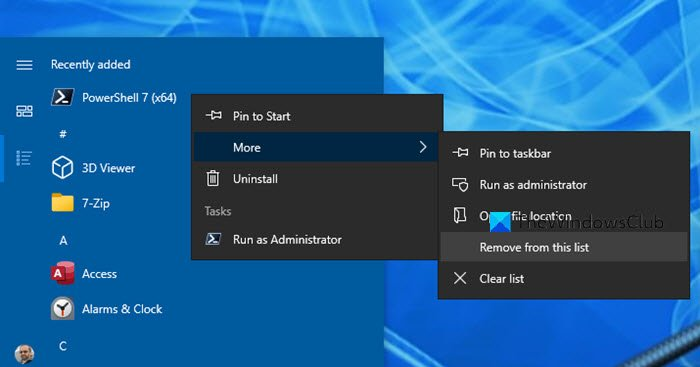 Remove Recently added app from Start Menu
