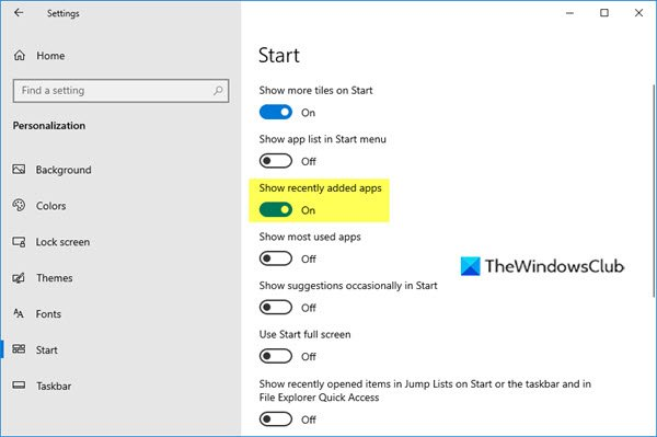 Remove Recently added apps from Start Menu