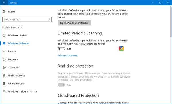 configure Windows Defender in Windows 10
