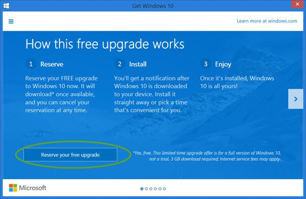 reserve free windows 10 upgrade