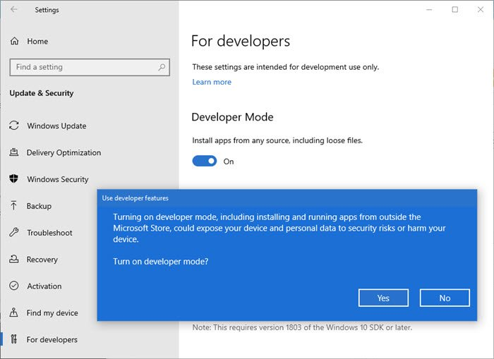 sideload apps in windows 10