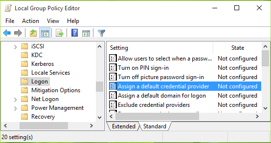 assign default credential provider windows 10
